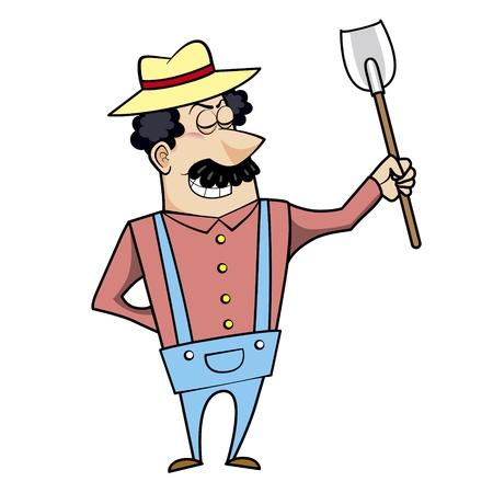 Vector illustration of a cartoon landscaper, farmer or gardener with a spade shovel.