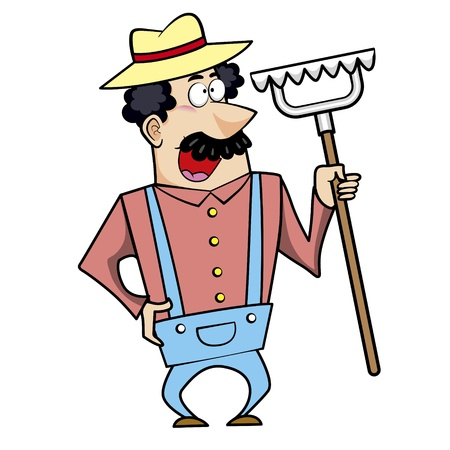 Vector illustration of a cartoon landscaper, farmer or gardener with a rake. Stock Vector - 18261309