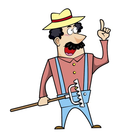 chuckling: Vector illustration of a cartoon landscaper, farmer or gardener with a rake.