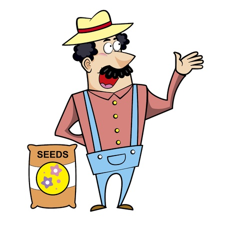 chuckling: Vector illustration of a cartoon landscaper, farmer or gardener with a seed bag.