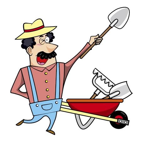 paysagiste: Vector illustration d'un paysagiste dessin animé, fermier ou jardinier avec une brouette pleine d'outils de jardin. Illustration