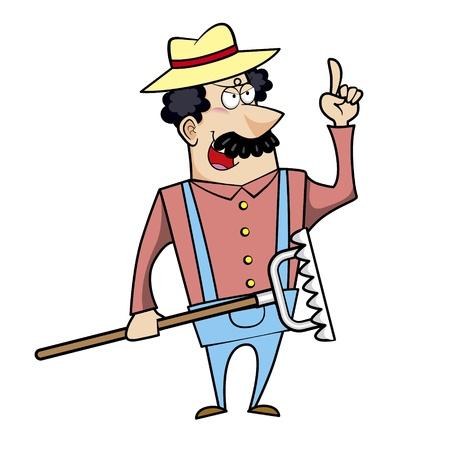 smirking: Vector illustration of a cartoon landscaper, farmer or gardener with a rake