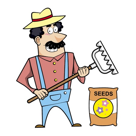 Vector illustration of a cartoon landscaper, farmer or gardener with a rake and seed bag  Stock Vector - 18261445