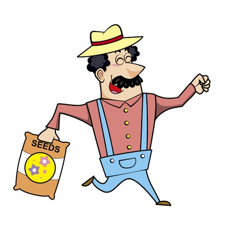 chuckling: Vector illustration of a cartoon landscaper, farmer or gardener with a seed bag