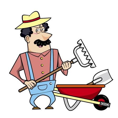 paysagiste: Vector illustration d'un paysagiste dessin animé, fermier ou jardinier avec une brouette pleine d'outils de jardin