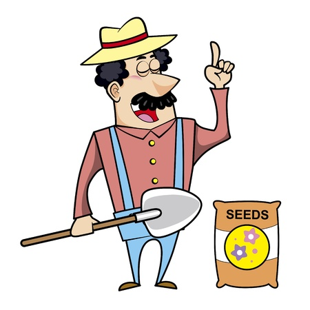 Vector illustration of a cartoon landscaper, farmer or gardener with a shovel and seed bag
