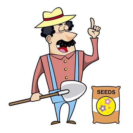 happy farmer: Vector illustration of a cartoon landscaper, farmer or gardener with a shovel and seed bag