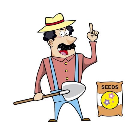 Ilustración vectorial de un paisajista caricatura, granjero o jardinero con una pala y una bolsa de semilla Ilustración de vector