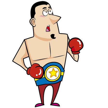 Cartoon boxer with boxing gloves vector illustration  Vector