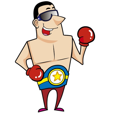 Cartoon boxer with boxing gloves vector illustration  Stock Vector - 18376469
