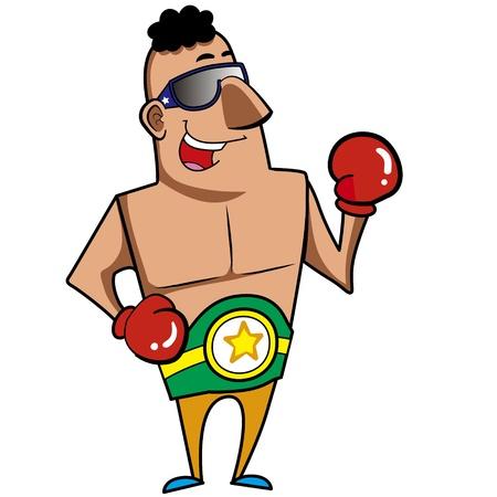 guantes boxeo: Boxeador de la historieta con la ilustraci�n del vector guantes de boxeo Vectores