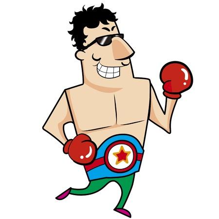guantes boxeo: Boxeador de la historieta con los guantes de boxeo ilustraci�n vectorial