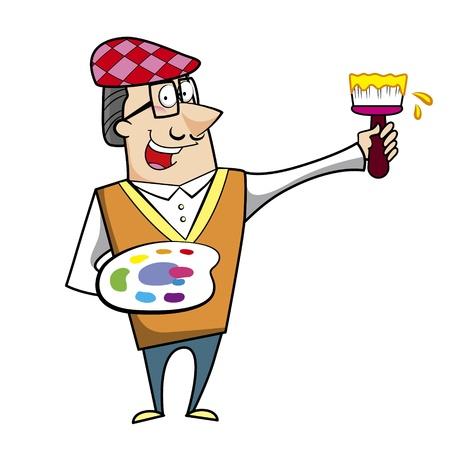 smirking: Cartoon artist with paintbrush and paint palette vector illustration.