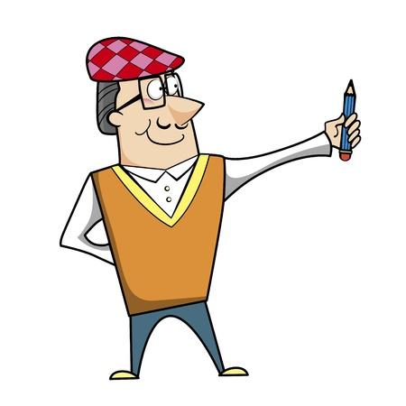 ascot: Cartoon artist with pencil vector illustration.