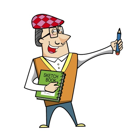 Cartoon artist with pencil and sketch book vector illustration. Stock Vector - 18376570