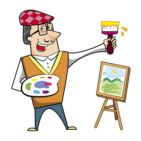 Cartoon artist with paintbrush and canvas easel vector illustration. Stock Vector - 18376590