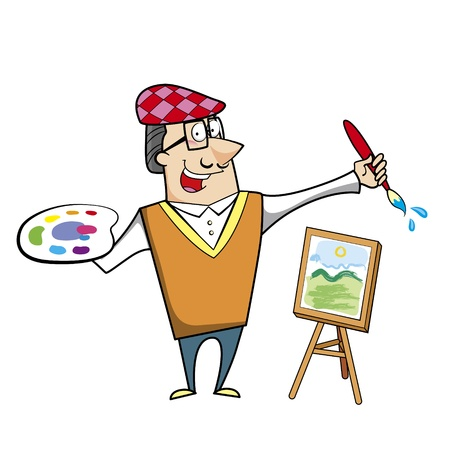 artist painting: Cartoon artist with paintbrush and canvas easel vector illustration.