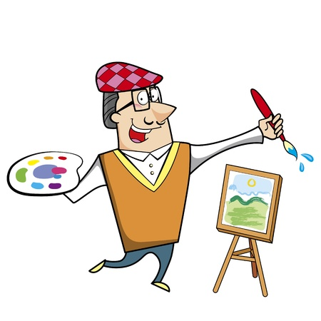 Cartoon artist with paintbrush and canvas easel vector illustration. Stock Vector - 18376589
