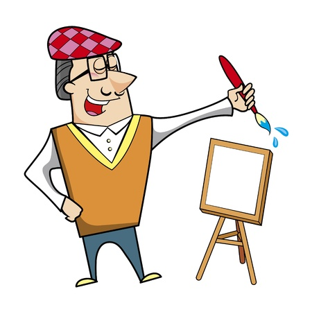 Cartoon artist with paintbrush and canvas easel vector illustration. Stock Vector - 18376564