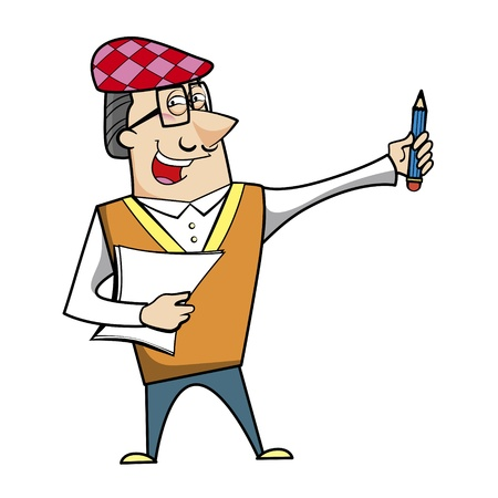 chuckling: Cartoon artist with pencil and paper vector illustration.
