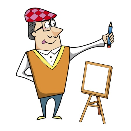 ascot: Cartoon artist with pencil and canvas easel vector illustration.