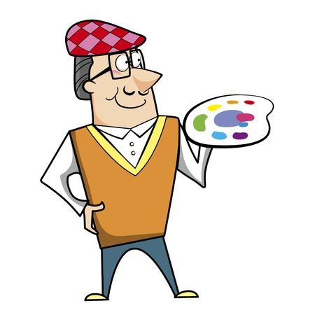 ascot: Cartoon artist with paint palette vector illustration.