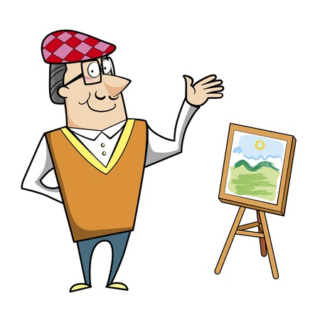 ascot: Cartoon artist with painting canvas on easel vector illustration. Illustration