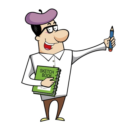 Cartoon artist with pencil and sketch book vector illustration. Stock Vector - 18376542