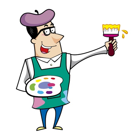 Cartoon artist with paintbrush and paint palette vector illustration. Stock Vector - 18376535