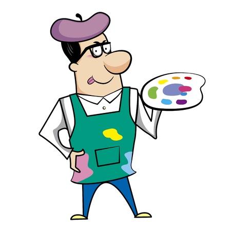Cartoon artist with paint palette vector illustration Stock Vector - 18376516