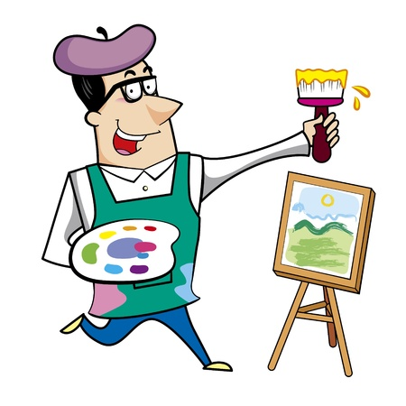 art palette: Cartoon artist with paintbrush and canvas easel vector illustration
