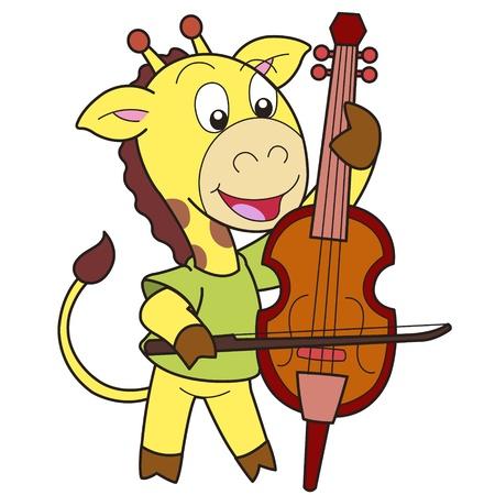 smilling: Cartoon giraffe playing a cello  Illustration