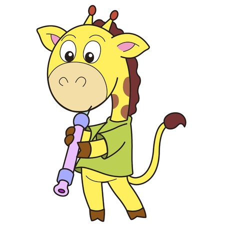oboe: Cartoon giraffe playing an oboe  Illustration