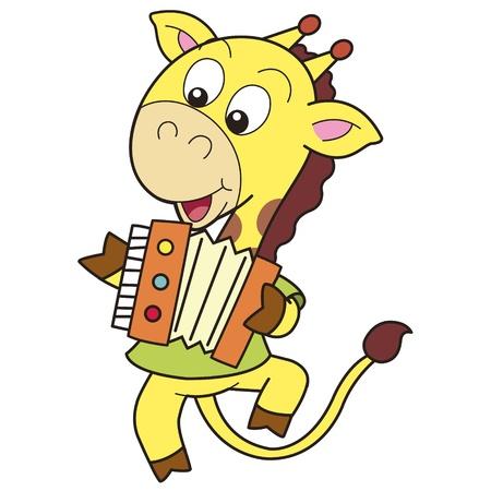 smilling: Cartoon Giraffe Playing an Accordion