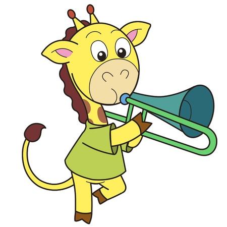 Cartoon giraffe playing a trombone  Vector