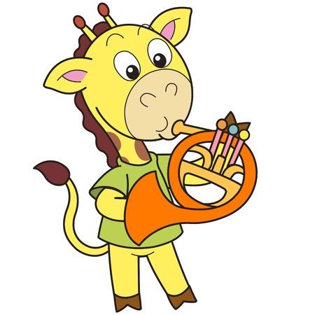 french horn: Cartoon giraffe playing a French horn