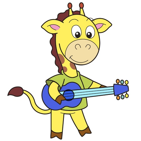 Cartoon giraffe playing a guitar  Vector