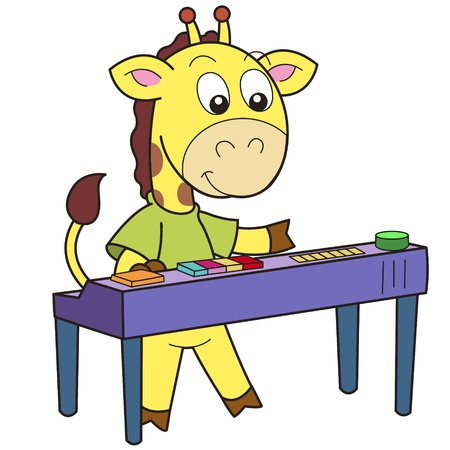 Cartoon giraffe playing an electronic organ  Vector