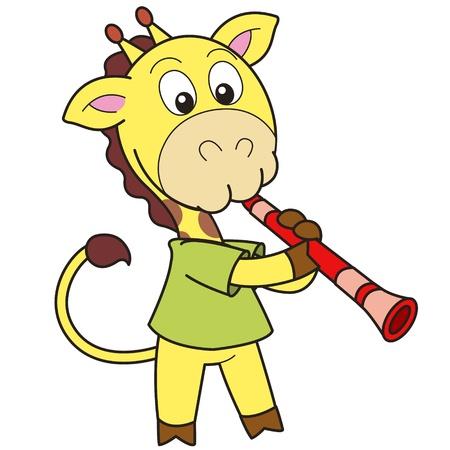 Girafe de bande dessinée jouant de la clarinette Banque d'images - 18376422
