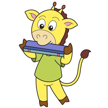 harmonica: Cartoon giraffe playing a harmonica  Illustration