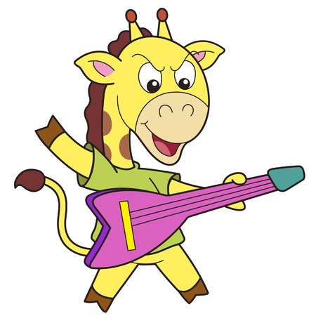 Cartoon giraffe playing an electric guitar
