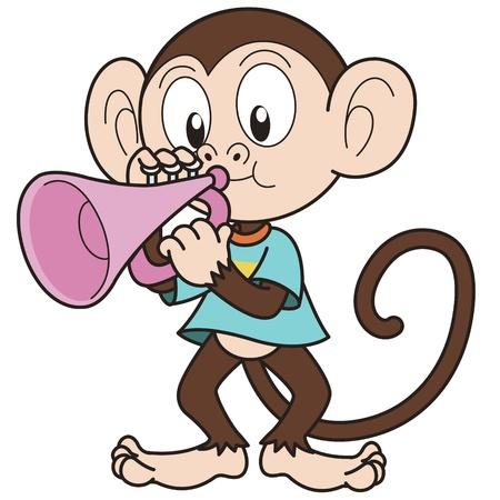 Cartoon monkey playing a trumpet  Vector