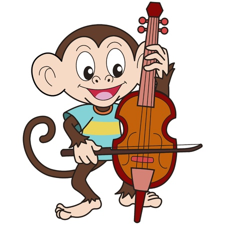 cello: Cartoon Scimmia Riproduzione di un violoncello Vettoriali
