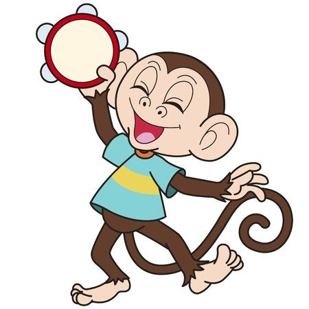 tambourine: Cartoon monkey playing a tambourine  Illustration