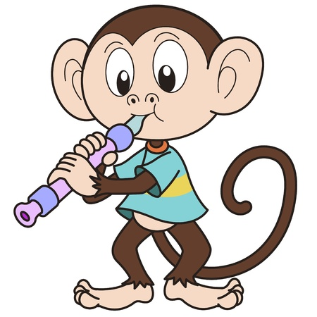 Cartoon monkey jugando un oboe