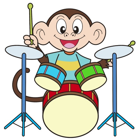 bateria musical: Cartoon Monkey Playing Drums Vectores