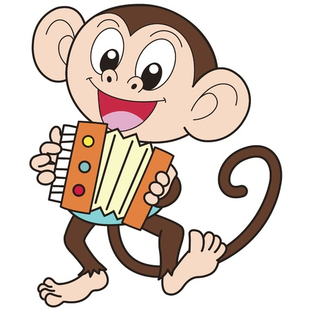 Cartoon monkey playing an accordion  Vector