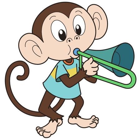mono caricatura: Cartoon mono tocando un trombón Vectores
