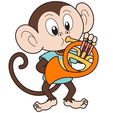 Cartoon monkey playing a French horn  Vector