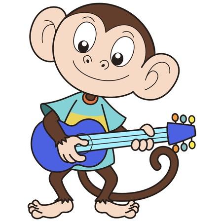 singes: Singe de bande dessin�e jouant de la guitare Illustration